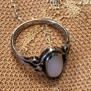 Silver with Pearl type oval stone